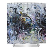 Blue Purple Abstract Movement Art Shower Curtain