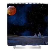 Blue Pyramids With Orange Moon Shower Curtain