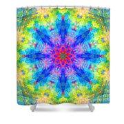 Blue Rainbow Star Mandala Shower Curtain
