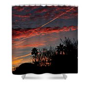 Blue Red And Gold Sunset With Streak Shower Curtain