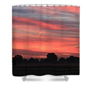 Blue Red Sky  Shower Curtain