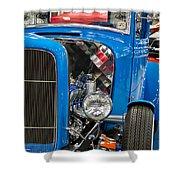 Blue Retro Beauty Shower Curtain