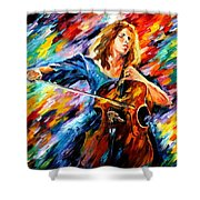 Blue Rhapsody - Palette Knife Oil Painting On Canvas By Leonid Afremov Shower Curtain