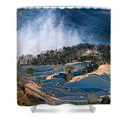 Blue Rice Terrace Shower Curtain