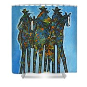 Blue Riders Shower Curtain