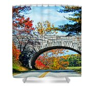 Blue Ridge Autumn Bridge Shower Curtain