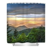 Blue Ridge Parkway Nc - Golden Rainbow Shower Curtain