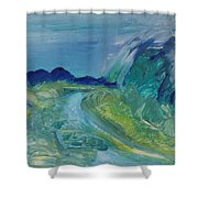 Blue River Landscape I, 1988 Oil On Canvas Shower Curtain