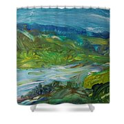 Blue River Landscape II, 1988 Oil On Canvas Shower Curtain