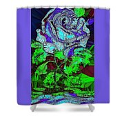 Blue Rose In Glass Shower Curtain