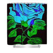 Blue Rose In The Rain Shower Curtain