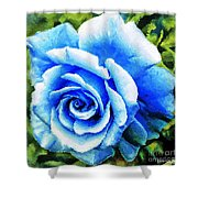 Blue Rose With Brushstrokes Shower Curtain