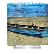 Blue Rowboat Shower Curtain