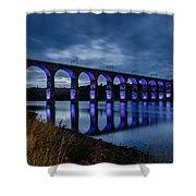 Blue Royal Border Bridge Shower Curtain