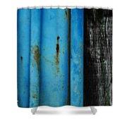 Blue Rusty Farm Gate Shower Curtain