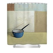 Blue Saucepan Shower Curtain