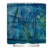 Blue Schooner Pen & Ink With Wc On Paper Shower Curtain
