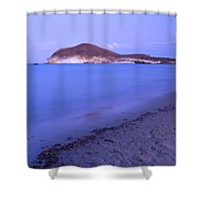 Blue Sea At Sunset Shower Curtain