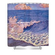 Blue Seascape Wave Effect Shower Curtain