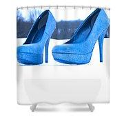 Blue Shoes Shower Curtain