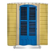Blue Shutter Door - New Orleans Shower Curtain