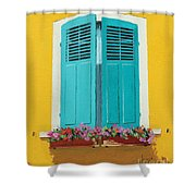 Blue Shutters And Flower Box Shower Curtain