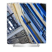 Blue Shutters In New Orleans Shower Curtain