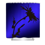 Blue Silhouette Shower Curtain