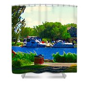Blue Skies Boats And Bikes Montreal Summer Scene The Lachine Canal Seascape Art Carole Spandau Shower Curtain