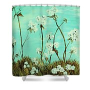 Blue Skies Over Cotton Shower Curtain