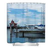 Blue Skies Over Seneca Lake Marina Shower Curtain