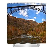 Blue Skies Over The New River Bridge Shower Curtain