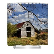 Blue Skies Red Roof Shower Curtain