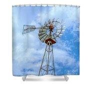 Blue Sky Aermotor Windmill Shower Curtain