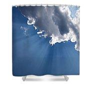 Blue Sky And Sun Rays Shower Curtain