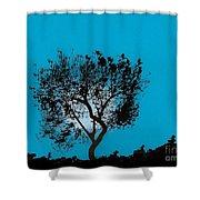 Blue Sky Moon Shower Curtain