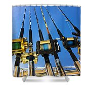 Blue Sky Rods Shower Curtain