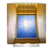 Blue Sky Window Shower Curtain