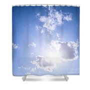 Blue Sky With Sun And Clouds Shower Curtain by Elena Elisseeva