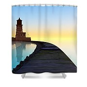 Blue Smooth Shower Curtain