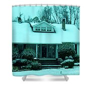 Blue Snow  Shower Curtain