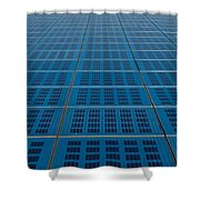 Blue Solar Panel Collector View Shower Curtain