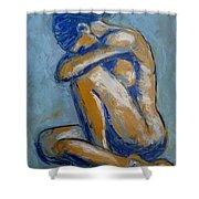 Blue Soul - Female Nude Shower Curtain