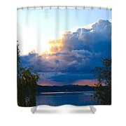 Blue Soundscape Shower Curtain