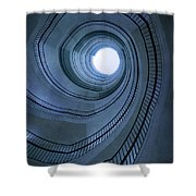 Blue Spiral Staircaise Shower Curtain