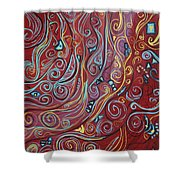 Blue Squiggles Shower Curtain