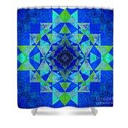 Blue Sri Yantra Variation Shower Curtain