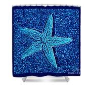 Blue Starfish - Digital Art Shower Curtain