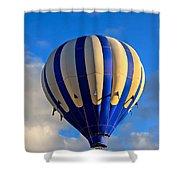 Blue Stripped Hot Air Balloon Shower Curtain