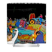 Blue Suede Shoes Posterized Shower Curtain